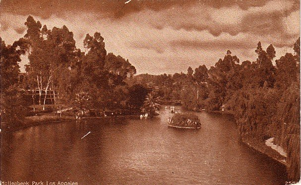 Hollenbeck Park in Los Angeles California CA, Edward H Mitchell Vintage Postcard - M0232