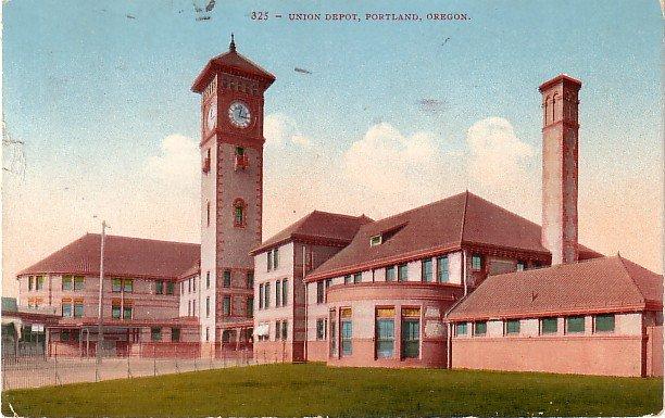 Union Depot in Portland Oregon OR, Edward H Mitchell 1910 Vintage Postcard - M0234