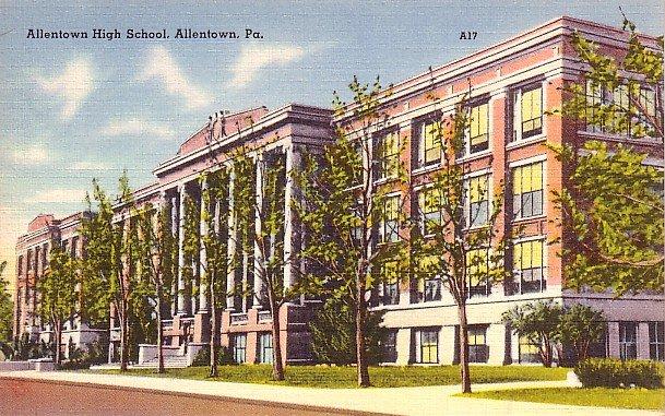 Allentown Pennsylvania PA High School, Mid Century Linen Postcard - BTS 47