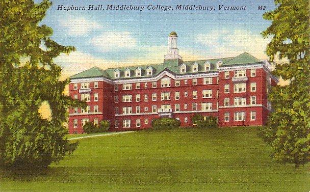 Hepburn Hall at Middlebury College in Vermont VT, Linen Postcard - BTS 65