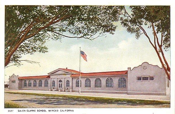 Galen Clarke School in Merced California CA, Vintage Postcard - BTS 75