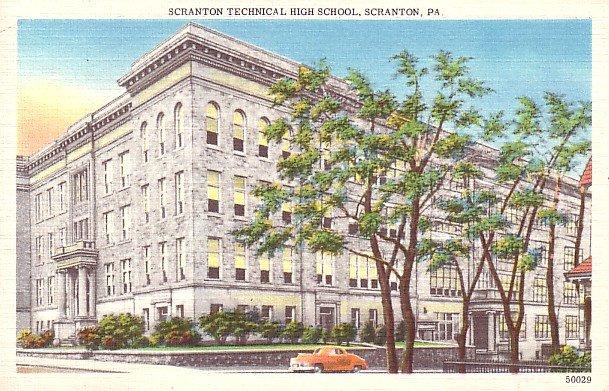 Scranton Technical High School in Pennsylvania PA, Linen Postcard - BTS 76