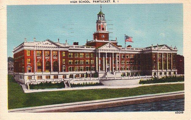 High School in Pawtucket Rhode Island RI, 1943 Linen Postcard - BTS 85