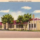 Garfield School in Garden City Kansas KS, Linen Postcard - BTS 115