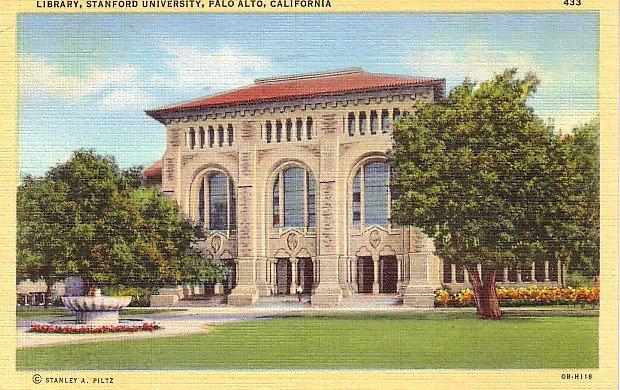 Stanford University Library in Palo Alto California CA, 1940 Linen Postcard - BTS 130