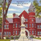 High School and Robert Burns Monument at Barre Vermont VT, Linen Postcard - BTS 151