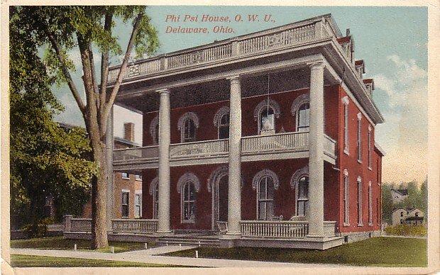 Phi Psi House at Ohio Wesleyan University in Delaware OH Vintage Postcard - BTS 174
