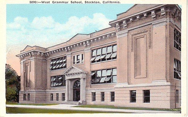West Grammar School in Stockton California CA, Vintage Postcard - BTS 185