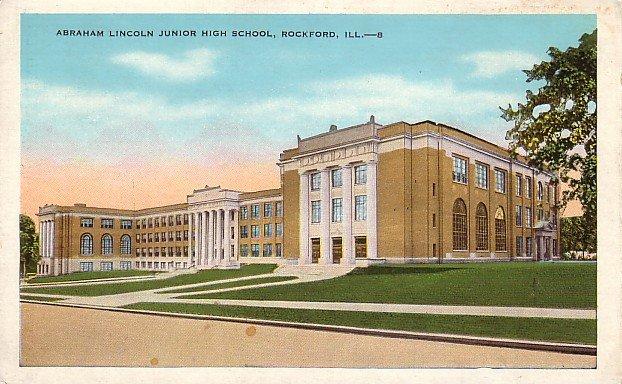 Abraham Lincoln Junior High School in Rockford Illinois IL Vintage Postcard - BTS 188