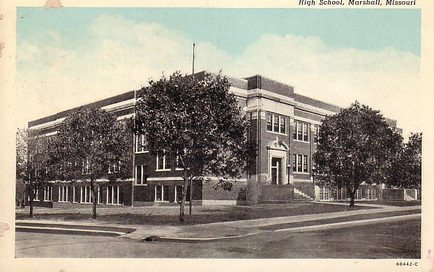 High School in Marshall Missouri MO, Curt Teich Blue Sky Vintage Postcard - BTS 199