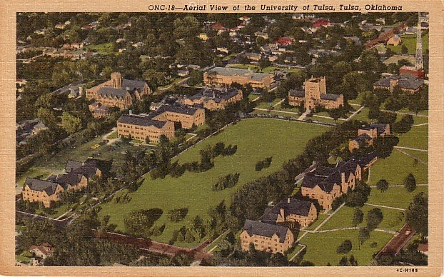 Aerial View of the University of Tulsa in Oklahoma OK, 1954 Curt Teich Linen Postcard - BTS 214