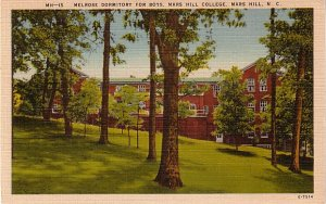 Melrose Dormitory at Mars Hill College in North Carolina NC, Linen Postcard - BTS 215