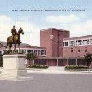 General Palmer Statue in Front of Colorado Springs High School in CO, Linen Postcard - BTS 216