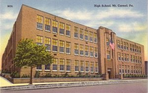 High School in Mt. Carmel Pennsylvania PA, Mid Century Linen Postcard - BTS 220