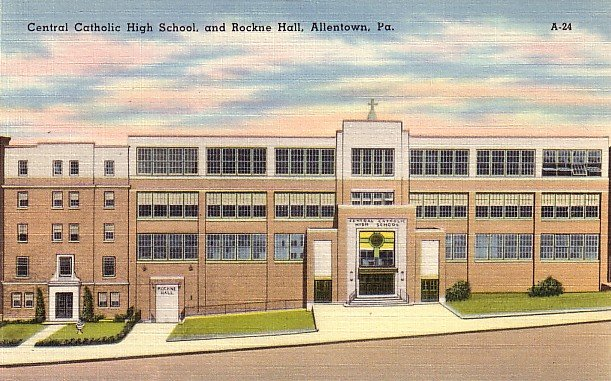 Central Catholic High School in Allentown Pennsylvania PA Linen Postcard - BTS 222