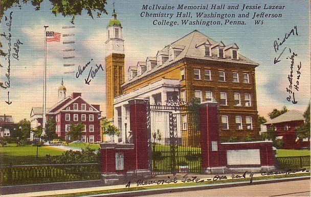 Washington and Jefferson College in Washington Pennsylvania PA, 1956 Linen Postcard - BTS 225