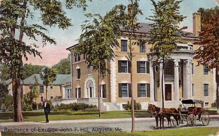 Residence of Ex Governor John F. Hill in Augusta Maine ME, 1909 Vintage Postcard - 4063