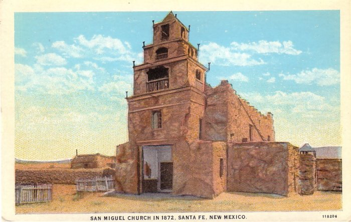 San Miguel Church in Santa Fe New Mexico NM, Vintage Postcard - 4064