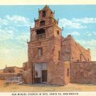 San Miguel Church in Santa Fe New Mexico NM, Vintage Postcard - 4064