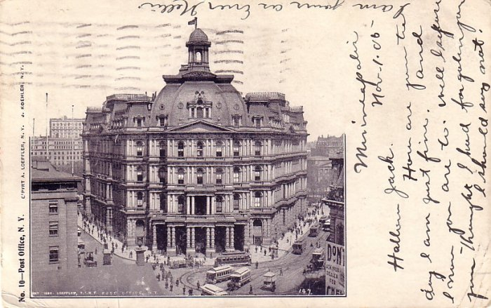 Post Office in New York City NY, 1905 Vintage Postcard - 4065