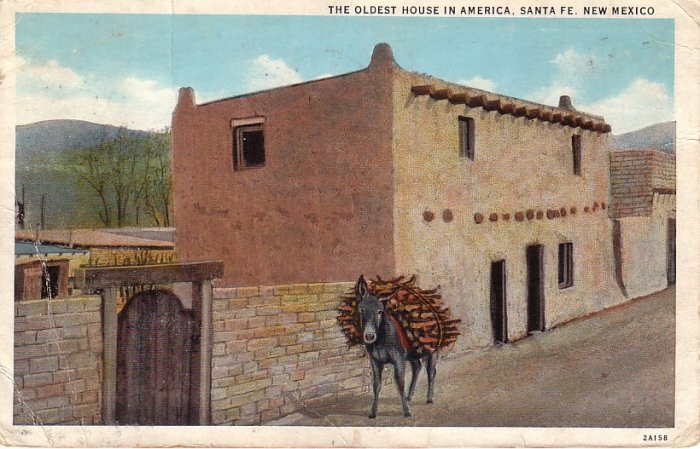 The Oldest House in America at Santa Fe New Mexico NM, 1932 Curt Teich Vintage Postcard - 4068