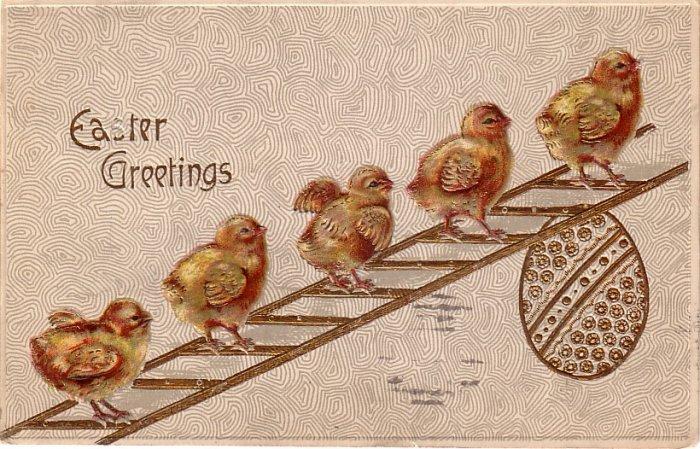 Chicks Walking up Ladder Easter Greetings, 1909 Vintage Postcard - 4072