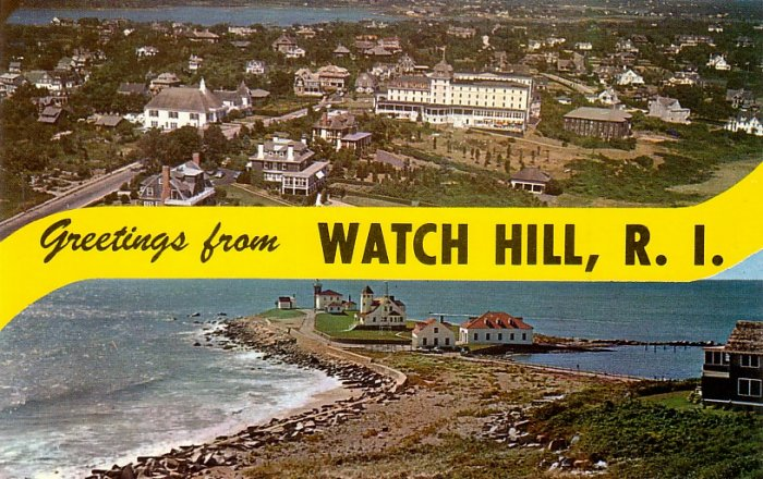 Greetings from Watch Hill Rhode Island RI, Chrome Postcard - 4088