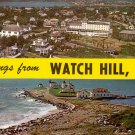 Greetings from Watch Hill Rhode Island RI, Chrome Postcard - 4088