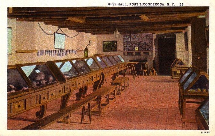 Mess Hall at Fort Ticonderoga New York NY, Curt Teich Vintage Postcard - 4131