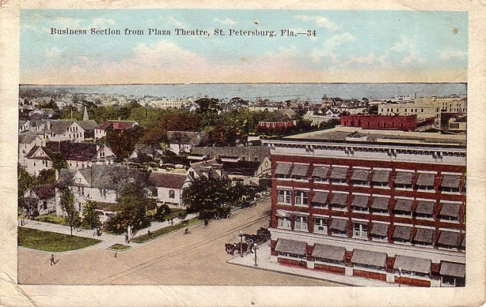 Business Section from Plaza Theatre in St. Petersburg Florida FL, 1921 Vintage Postcard - 4134