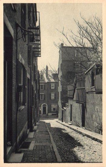 Acorn Street of Beacon Hill in Boston Massachusetts MA, Vintage Postcard - 4153