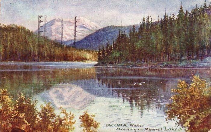 Morning at Mineral Lake in Tacoma Washington WA, Raphael Tuck & Sons Postcard - 4156