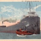 Ore Boat on Maumee Bay in Toledo Ohio OH, 1921 Vintage Postcard - 4170