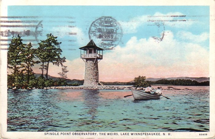 Spindle Point Observatory at Lake Winnepesaukee New Hampshire NH, Curt Teich Postcard - 4191