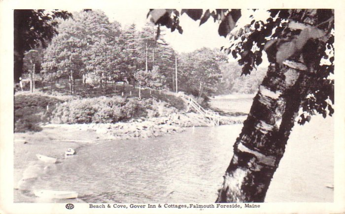 Beach and Cove at Gover Inn in Falmouth Foreside Maine ME,  Postcard - 4193