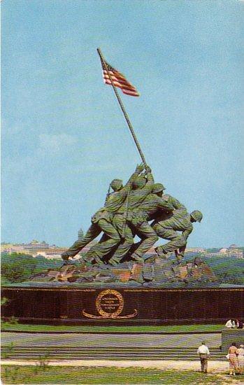 U.S. Marine Corps War Memorial in Arlington Virginia VA, Chrome Postcard - 4194
