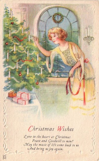 Pretty Lady Lighting Candles on Christmas Tree, 1925 Vintage Postcard - 4207