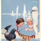 Dutch Children 1914 Greeting Postcard - 4232