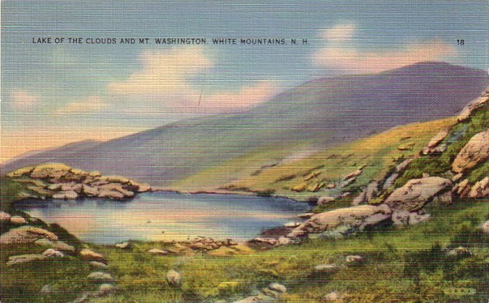 Lake of the Clouds and Mt. Washington in White Mountains New Hampshire NH, Linen Postcard - 4250