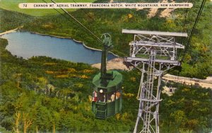 Cannon Mountain Tramway, Franconia Notch in White Mountains New Hampshire NH, Linen Postcard - 4252