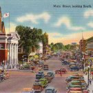 Main Street looking south in Nashua New Hampshire NH, Linen Postcard - 4256