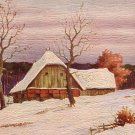 Winter Scene of Barn with Textured Brush Strokes, Vintage Postcard - 4258