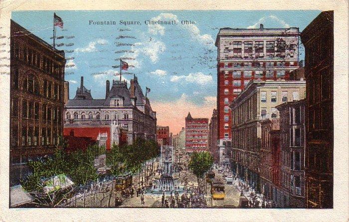 Fountain Square in Cincinnati Ohio OH, 1922 Vintage Postcard - 4260