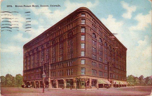 Brown Palace Hotel in Denver Colorado CO, 1911 Vintage Postcard - 008 NJ