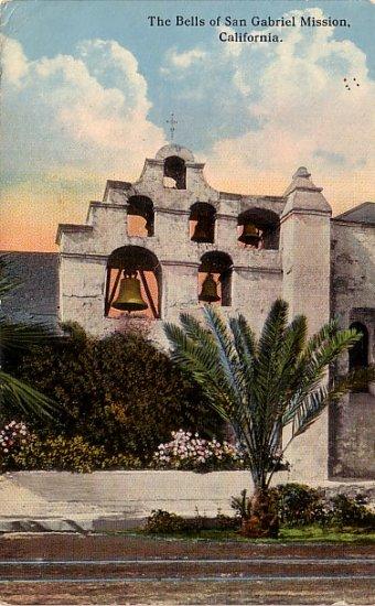 The Bells of San Gabriel Mission in California CA, 1917 Vintage Postcard - 013 NJ