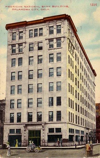 American National Bank Building in Oklahoma City OK, 1910 Vintage Postcard - 018 NJ