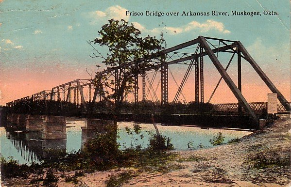 Frisco Bridge over Arkansas River in Muskogee Oklahoma OK, 1915 Vintage Postcard - 021 NJ