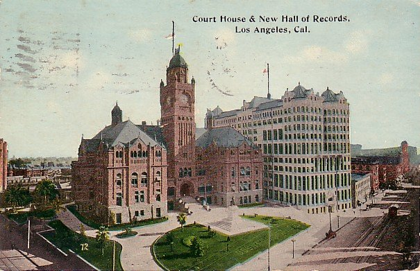 Court House and New Hall of Records in Los Angeles California CA, 1913 Vintage Postcard - 025 NJ