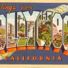 Greetings from Hollywood California CA, 1936 Curt Teich Large Letter Postcard - 026 NJ