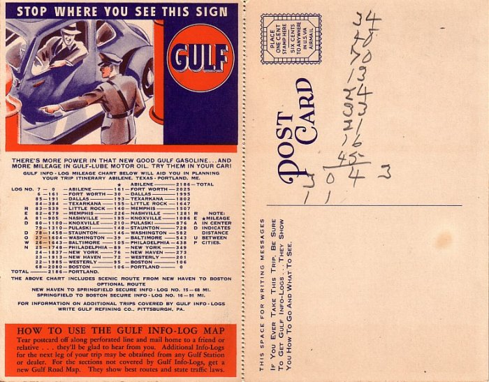 Gulf Refining Company Advertising Map Postcard - 045 NJ